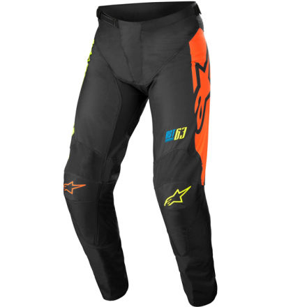 PANTALONE RACER COMPASS BLACK YELLOW FLUO CORAL