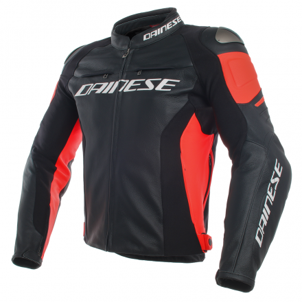 GIUBBOTTO RACING 3 PELLE BLK/FL-RED
