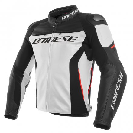 GIUBBOTTO RACING 3 PELLE WHT/BLK/RED